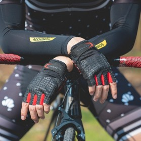 Rockbros Sarung Tangan Sepeda Half Finger Shock Gel Absorber Size L - S169 - Black - 2