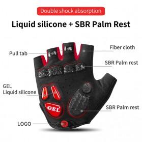Rockbros Sarung Tangan Sepeda Half Finger Shock Gel Absorber Size L - S169 - Black - 3