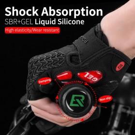 Rockbros Sarung Tangan Sepeda Half Finger Shock Gel Absorber Size L - S169 - Black - 4