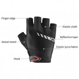 Rockbros Sarung Tangan Sepeda Half Finger Shock Gel Absorber Size L - S169 - Black - 7