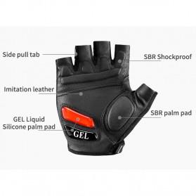 Rockbros Sarung Tangan Sepeda Half Finger Shock Gel Absorber Size L - S169 - Black - 9