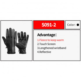 Rockbros Sarung Tangan Sepeda Full Finger Thermal Warm Touchscreen Size L - S091-2 - Black - 2