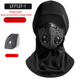 ROCKBROS Masker Motor Sepeda Full Face Ala Ninja Cycling Cap Thermal Warm - LF7127-1 - Black