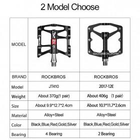 Rockbros Pedal Sepeda Anti-slip Ultralight MTB Mountain Aluminium Alloy - JT410 - Black - 6
