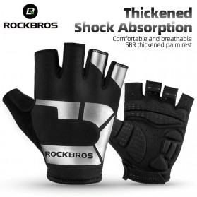 Rockbros Sarung Tangan Sepeda Half Finger Shock Absorber Size M - S227 - Black - 2