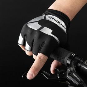 Rockbros Sarung Tangan Sepeda Half Finger Shock Absorber Size M - S227 - Black - 4