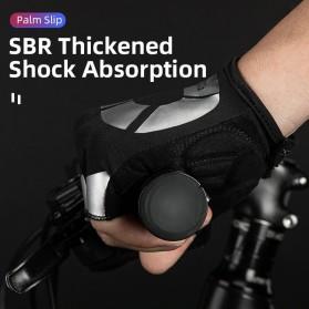 Rockbros Sarung Tangan Sepeda Half Finger Shock Absorber Size L - S227 - Black - 3