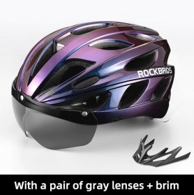 Rockbros Helm Sepeda Cycling Bike Helmet + Visor - TT-16-CP - Black/Purple