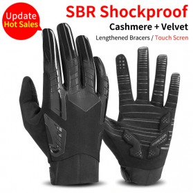 Rockbros Sarung Tangan Sepeda Full Finger Touchscreen Windproof Size XL - S208 - Black