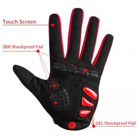 Rockbros Sarung Tangan Sepeda Full Finger Touchscreen Windproof Size XL - S208 - Black - 2