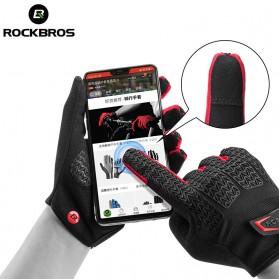 Rockbros Sarung Tangan Sepeda Full Finger Touchscreen Windproof Size XL - S208 - Black - 3