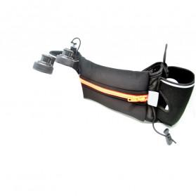 Neoprene Hydration Sports Running Belt with 2 Bottle - ZE-HBW - Black/Black - 4
