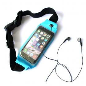 Tali Ikat Pinggang Olahraga Waterproof dengan Slot Smartphone 5.5 Inch - Blue