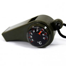 Perlengkapan Camping / Survival Tools - 3 in 1 Whistle Compass Temperature / Peluit Multifungsi - Army Green