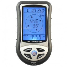 Mini 8 in1 LCD Digital Altimeter Barometer Thermo Compass Weather Forecasts Time Calendar - RV77 - Black