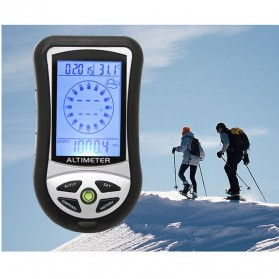 Mini 8 in1 LCD Digital Altimeter Barometer Thermo Compass Weather Forecasts Time Calendar - RV77 - Black - 5