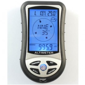 Mini 8 in1 LCD Digital Altimeter Barometer Thermo Compass Weather Forecasts Time Calendar - RV77 - Black - 8