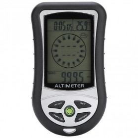Mini 8 in1 LCD Digital Altimeter Barometer Thermo Compass Weather Forecasts Time Calendar - RV77 - Black/Black