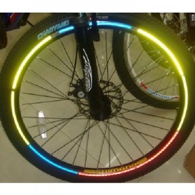 Lampu Sepeda / Bicycle Light - Bicycle Wheel Reflective Sticker / Stiker Roda Sepeda 8 Strip - A-0001 - Green