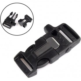 Wstang Survival Buckle with Fire Starter and Whistle - Black