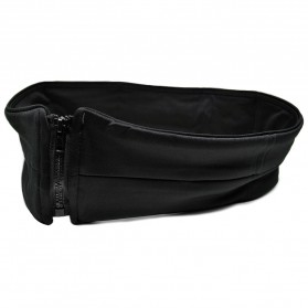Waterproof Sports Belt with Single Pocket and Zipper - Medium Size - Black