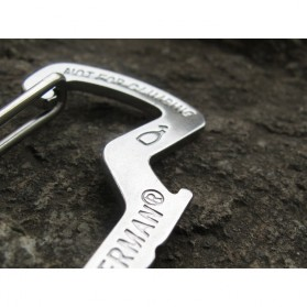 Versatile EDC Carabiner Stainless Steel with Bottle Opener - Silver - 12