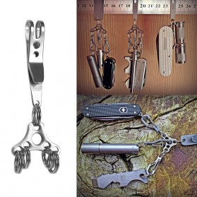 UFO Expand Suspension Clip Key Ring with Triangle Buckle - Silver - 4