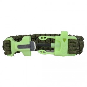 Luminous Survival Bracelet with Magnesium Flint Fire Starter - Green - 2