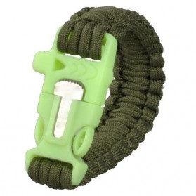 Luminous Survival Bracelet with Magnesium Flint Fire Starter - Green - 3