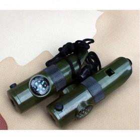 Peluit Survival Multifungsi Dengan Compass, Lampu LED & Pengukur Suhu - Army Green - 2