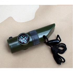 Peluit Survival Multifungsi Dengan Compass, Lampu LED & Pengukur Suhu - Army Green - 4