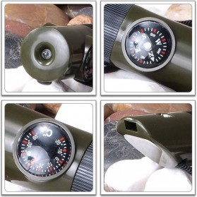 Peluit Survival Multifungsi Dengan Compass, Lampu LED & Pengukur Suhu - Army Green - 6