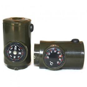Peluit Survival Multifungsi Dengan Compass, Lampu LED & Pengukur Suhu - Army Green - 7