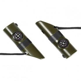 Peluit Survival Multifungsi Dengan Compass, Lampu LED & Pengukur Suhu - Army Green - 8