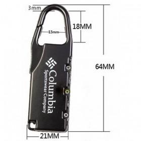 TaffGUARD Columbia Gembok Koper Numeric Code Lock - Black - 5