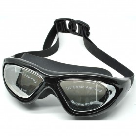 Ruihe Kacamata Renang Big Frame Anti Fog UV Protection - RH9110 - Black