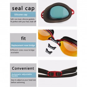 COPOZZ Kacamata Renang Anti Fog UV Protection - GOG-3550 - Black - 8