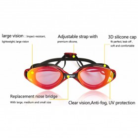 COPOZZ Kacamata Renang Anti Fog UV Protection - GOG-3550 - Black/Transparant - 3