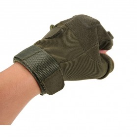 Black Eagle Sarung Tangan Motor Half Finger Size L - PC016 - Army Green - 4