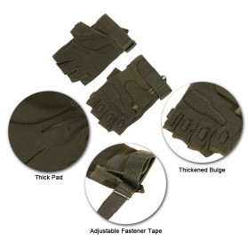 Black Eagle Sarung Tangan Motor Half Finger Size L - PC016 - Army Green - 5