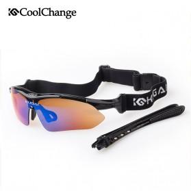 CoolChange Kacamata Sepeda dengan 5 Lensa Myopia - 0089 - Black - 2