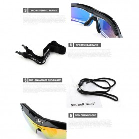 CoolChange Kacamata Sepeda dengan 5 Lensa Myopia - 0089 - Black - 8