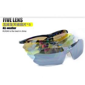 CoolChange Kacamata Sepeda dengan 5 Lensa Myopia - 0089 - Black - 9