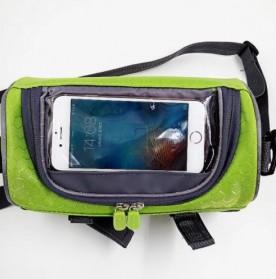 Tas Sepeda Front Frame dengan Smartphone Pocket - Green - 3