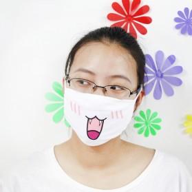 Masker Emoji Lucu Anti Polusi Udara - Model 2 - White - 4