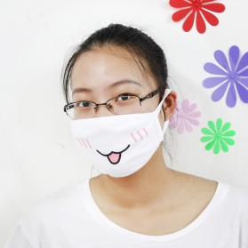 Masker Emoji Lucu Anti Polusi Udara - Model 2 - White - 5