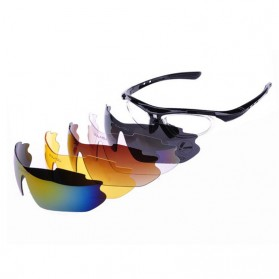 OULAIOU Kacamata Sepeda dengan 5 Lensa Myopia - Black