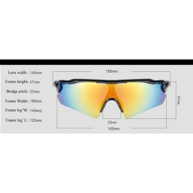 SPOSUNE Kacamata Sepeda Olahraga Polarized - ST-009 - White/Red - 2