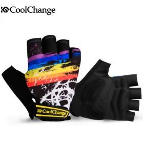 CoolChange Sarung Tangan Sepeda Half Finger Colorfull Size L - Black