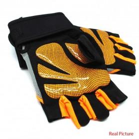 Sarung Tangan Half Finger Sepeda Fitnes Size L - Black/Orange - 2
